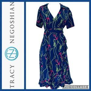 Tracy Negoshian Jeana Wrap Dress in Navy Anchor XS